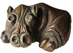 Bronze Figur Nilpferd Feierabendstimmung 6 cm Bronze Hippo Party Evening
