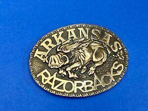 Vintage Award Design Metals Arkansas Razorbacks Running Boar brass Belt Buckle