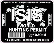 ISIS WORLD HUNTING PERMIT INTERNATIONAL VINYL STICKER DECAL BLACK