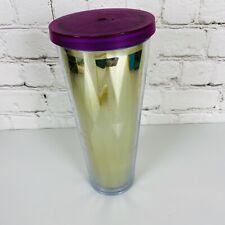 Starbucks Gold Venti Cold Cup Tumbler Size 24 oz Purple Lid No Straw