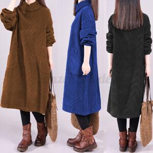 ZANZEA Womens Retro Casual Loose Corduroy Midi Kaftan High Neck Dress Plus Size