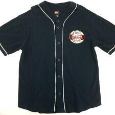 Coca Cola Ware Mens sz Large Baseball Jersey 100% Cotton Button Front Tshirt vtg