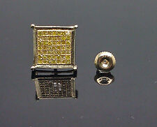 10K Men's Yellow Gold Square Shaped Yellow Diamond Earring 0.33CT