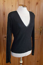 WALLIS black stretch floral lace silver glitter long sleeve v neck tunic top 14