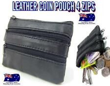 4 ZIP COIN POUCH 12cm x 8.5cm BLACK LEATHER PURSE WALLET CREDIT CARD HOLDER