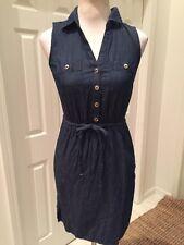 White House Black Market Chambray Denim Sleeveless Dress 00 Mint!