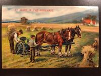 Vintage Postcard Farming Horses Plowing Harvest Not Used Made in Germany EAS