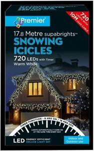 Festive Xmas 720 LED Snowing Icicle Warm White Christmas Lights with Timer