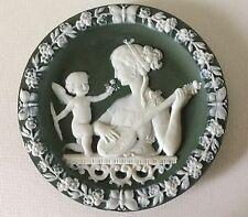 Antique Lady w/ Lute & CUPID Cherub Jasperware Porcelain Wall Plaque 3078a