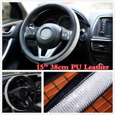 1X Black PU Leather Crystal 15inch Car Steering Wheel Covers w/ Bling Rhinestone