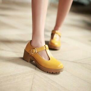 Ladies Oxford T-Bars Round Toe Cuban Heel Platform Brogue Shoes All UK Size 43