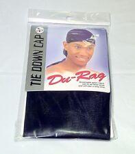 NEW DU-RAG Tie Down Cap Doorag Wave Cap Black Skull Head Tie 1 Size Fit All