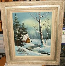 CANTRELL ORIGINAL OIL ON CANVAS WINTER SNOW RIVER BARN LANDSCAPE PAINTING