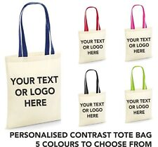 Personalised Custom Text Logo Contrast Tote Bag Shopper Grocery Shopping Handbag