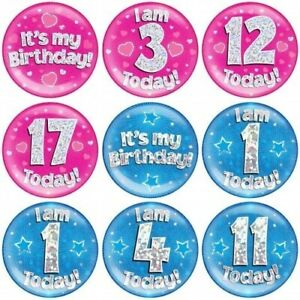 """Jumbo 6"""" Large Holographic Birthday Badge 1-90 Pink/Blue Party Accessory"""