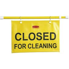 """Rubbermaid Safety Sign """"Closed for Cleaning"""" Extends 49-1/2"""" Yellow 9S1500Yw"""