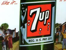 SEVEN UP - 7 UP - Gas Station OLD SIGN - Shows Swimsuit Girl on Bottle & Bubbles