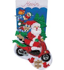 Felt Embroidery Kit ~ Design Works Scooter Santa Christmas Stocking #DW5239