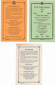 Three Small 1940s Menus from the Great Northern Railway