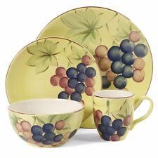 NEW Gibson Home Fruitful Harverst Grapes 16pc Dinnerware 97976.16