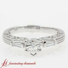 1/2 Carat Heart Shaped Diamond Vintage Engraved 3 Stone Engagement Ring For Her