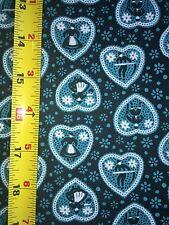 BY THE HALF YARD VTG DUTCH HEART MAN WOMAN Floral Flower fabric TEAL 50s 36w