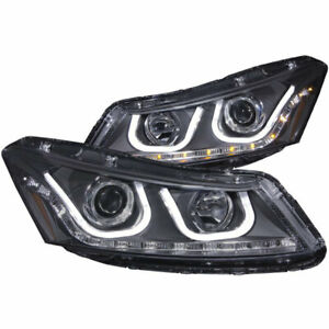 Anzo USA Projector Headlights Black with U-Bar for Honda Accord Sedan 2008-2012