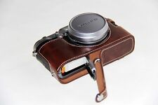 Coffee Leather Camera half Case Grip bag for Fujifilm X100F Bottom-opening New