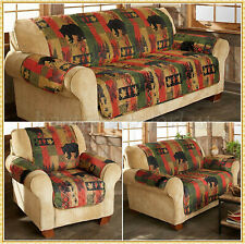 Quilted Lodge Furniture Cover Rustic Cabin Nature Slipcover Sofa Loveseat Chair