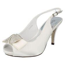 Ladies Anne Michelle PEEP Toe Diamante Bow Court Shoes F10254 White UK 7 Standard
