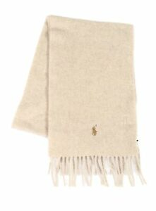 Polo Ralph Lauren Mens Accessories Beige One Size Fringe Cashmere Scarf $82 028