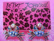 Betsey Johnson Blue Crab Stub Earrings