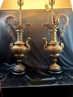 "Vintage MCM French Art Deco Urn Table Lamp Pair Dragon Fish Ram head Cherub 46"""