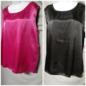"Ventura Pink Black  Camisole Top Sleeveless  Size 2X  48"" BUST"