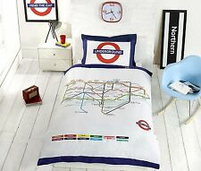 London Underground Tube Stations Duvet Cover and Pillowcase Bedding Bed Set