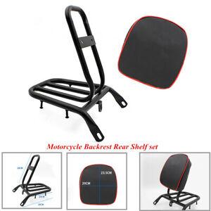 Black Electric Motorcycle Refitted Backrest Rear Shelf Luggage Rack Strength Kit