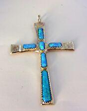 Native American Zuni Sterling Silver Opal  Cross Pendant