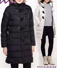 NEW Womens PUFFER Faux Fur PADDED Ladies JACKET COAT Black Size 8 - 16 wizz LONG