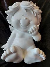 Supersüßer Babyengel lachend weiß sitzend 30 x 25cm