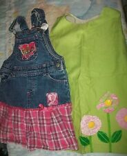 Disney overalls dress & Green Dress girls  Sz 5T