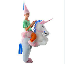 kids Halloween Inflatable Unicorn Ride on Sky Horse Air Blowing Up Funny Costume