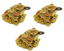 3 Fortune Gold Money Coin Frog Toad Feng Shui Decoration Lucky Christmas Gift