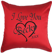 "Personalised I Love You Red 18"" x 18"" Cushion Cover - Gift for Valentine's Day"