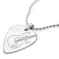 Necklace Pendant - Guitar Pick Plectrum Holder Metal Silver Tone 50cm Chain