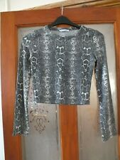 Ladies, round neck, long sleeved, grey & white top by Zara.  Size S