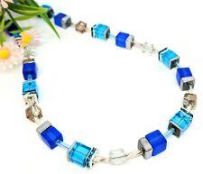 Halskette Würfelkette blau türkis silber kupfer Glitzer Strass Perlen edel 44cm