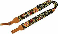 French Country Style Floral 2 inch Cotton & Genuine Leather Delux Guitar Straps