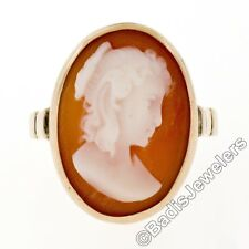 Vintage 14k Yellow Gold High Profile Bezel Set Carved Shell Cameo Ring Size 6.5