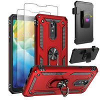 For LG Stylo 5/ 5 Plus / 5X / 5V Phone Case Stand Belt Clip Cover+Tempered Glass