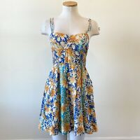 FREE PEOPLE Women Sundress SZ 4 Yellow Blue Floral Strappy Zip Fit Flare Pockets